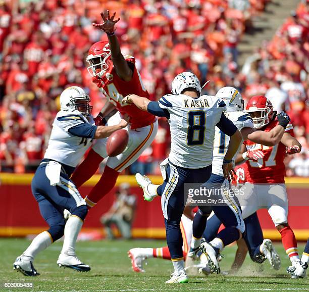 Kansas City Chiefs' Demetrius Harris tries to block a punt by San Diego Chargers punter Drew Kaser in the fourth quarter on Sunday Sept 11 2016 at...