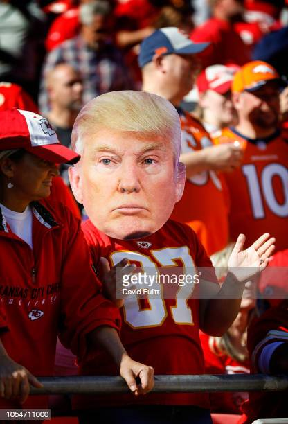 Kansas City Chiefs fan wore a mask bearing the likeness of Donald Trump during the game against the Denver Broncos at Arrowhead Stadium on October 28...