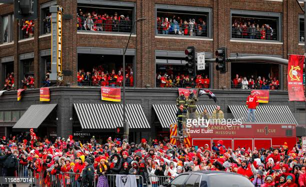 Kansas City Chiefs fans gather to cheer on their NFL football team on February 5 2020 in Kansas City Missouri during the citys celebration parade for...