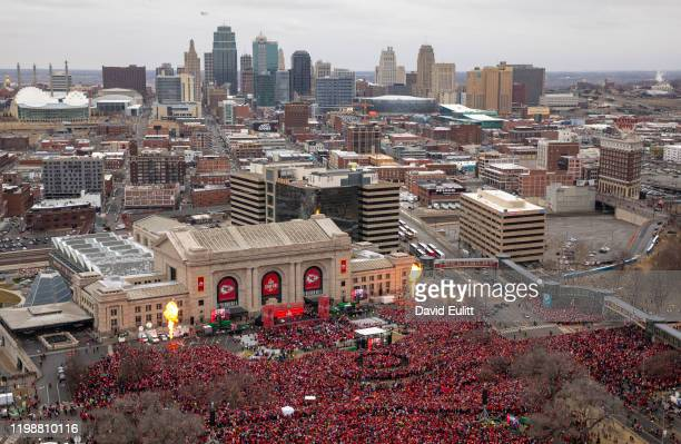 Kansas City Chiefs fans gathered at Union Station on February 5 2020 in Kansas City Missouri during the citys celebration parade for the Chiefs...