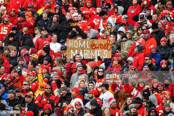 Kansas City Chiefs fans hold up a sign for quarterback Patrick Mahomes during the second quarter of the game against the Oakland Raiders at Arrowhead...
