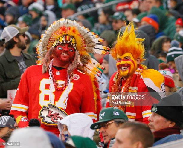 Kansas City Chiefs fans wear headdress at an NFL football game against the New York Jets on December 3, 2017 at MetLife Stadium in East Rutherford,...