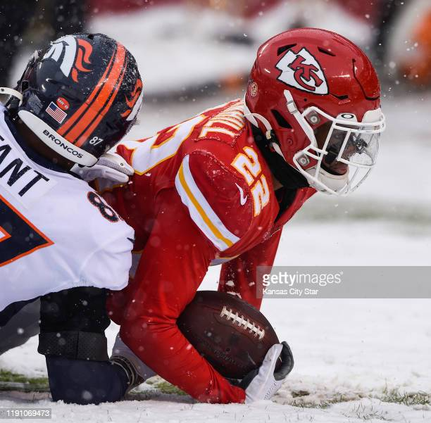 Kansas City Chiefs free safety Juan Thornhill comes down with a pass intended for Denver Broncos tight end Noah Fant in the end zone in the third...