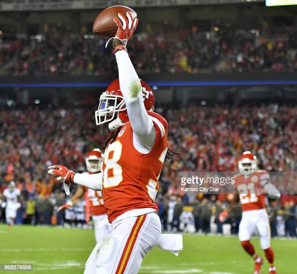 Kansas City Chiefs free safety Ron Parker celebrates his second quarter interception during Monday's football game against the Denver Broncos on Oct...
