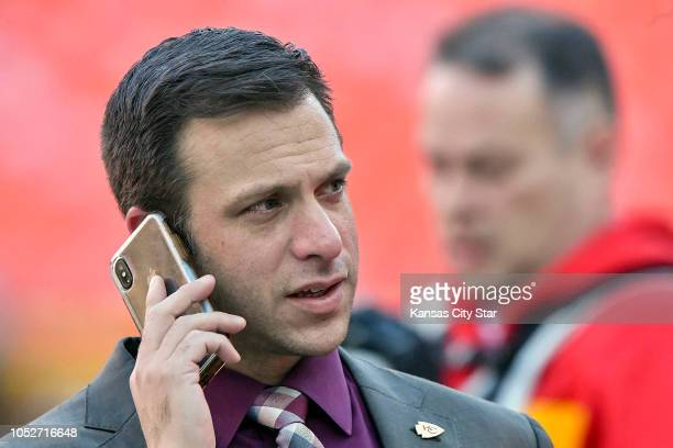 Kansas City Chiefs general manager Brett Veach before a game against the Cincinnati Bengals on Sunday Oct 21 2018 at Arrowhead Stadium in Kansas City...