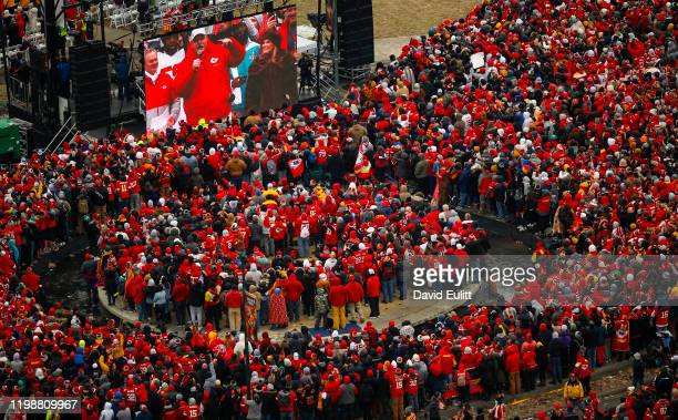 Kansas City Chiefs head coach Andy Reid addresses the teams fans on February 5 2020 in Kansas City Missouri during the citys celebration parade for...