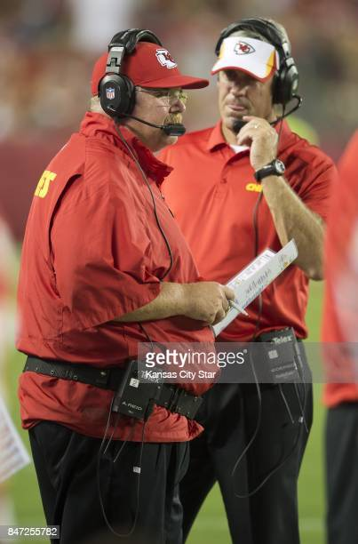 Kansas City Chiefs head coach Andy Reid and offensive coordinator Doug Pederson right watch from the sidelines during a preseason game against the...