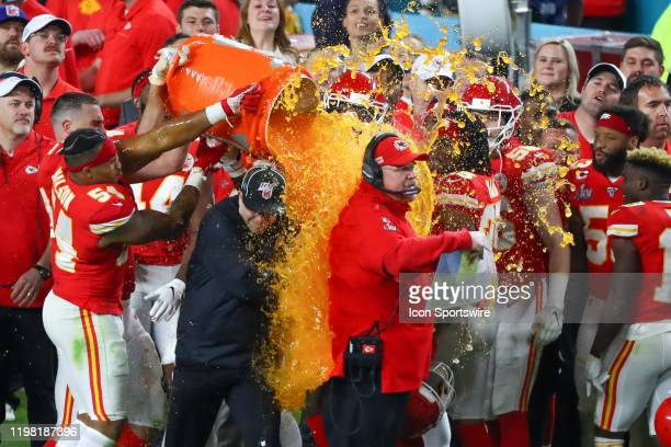 Kansas City Chiefs Head Coach Andy Reid gets gatorade poured on him after winning Super Bowl LIV on February 2, 2020 at Hard Rock Stadium in Miami...