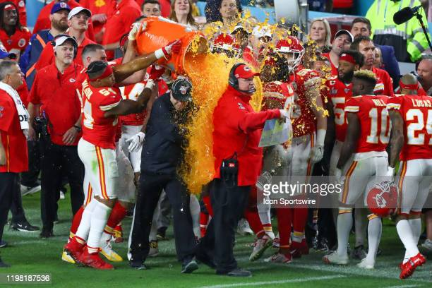 Kansas City Chiefs Head Coach Andy Reid gets gatorade poured on him after winning Super Bowl LIV on February 2 2020 at Hard Rock Stadium in Miami...