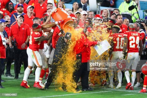 Kansas City Chiefs Head Coach Andy Reid has Gatorade pored on him during the fourth quarter of Super Bowl LIV on February 2, 2020 at Hard Rock...
