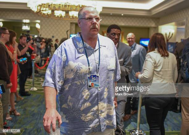 Kansas City Chiefs head coach Andy Reid heads to a meeting during the 2018 NFL Annual Meetings at the Ritz Carlton Orlando, Great Lakes on March 26,...