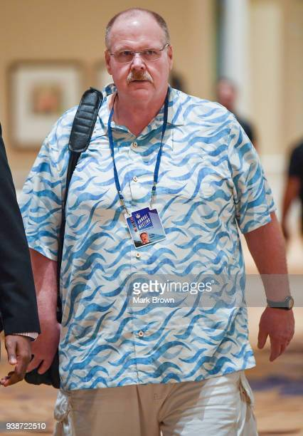 Kansas City Chiefs head coach Andy Reid heads to the AFC NFC coaches breakfast at the 2018 NFL Annual Meetings at the Ritz Carlton Orlando Great...