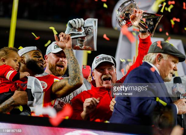 Kansas City Chiefs head coach Andy Reid holds the Vince Lombardi Trophy after winning Super Bowl LIV against the San Francisco 49ers, 31-20, at Hard...