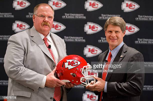 Kansas City Chiefs head coach Andy Reid left and Chiefs CEO Clark Hunt pose for a photo following Reid's first news conference Monday January 7 at...
