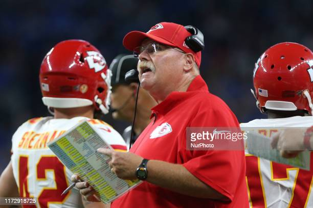 Kansas City Chiefs head coach Andy Reid looks on during the first half of an NFL football game against the Kansas City Chiefs in Detroit Michigan USA...