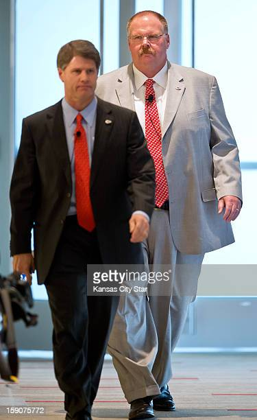 Kansas City Chiefs head coach Andy Reid right walks into his first news conference with Chiefs CEO Clark Hunt on Monday January 7 at Arrowhead...