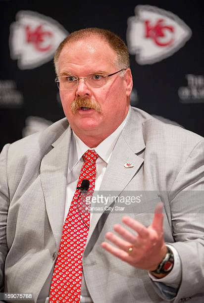 Kansas City Chiefs head coach Andy Reid speaks to reporters during his first news conference on Monday January 7 at Arrowhead Stadium in Kansas City...