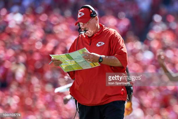 Kansas City Chiefs head coach Andy Reid talks into his headset in action during an NFL game between the San Francisco 49ers and the Kansas City...
