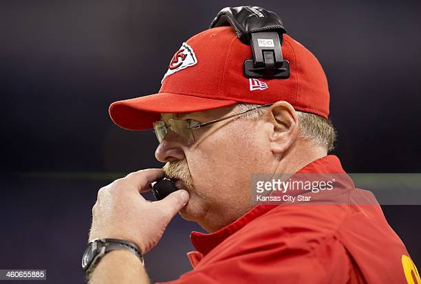 Kansas City Chiefs head coach Andy Reid watches from the sidelines during the second quarter against the Indianapolis Colts in an AFC Wild Card Game...