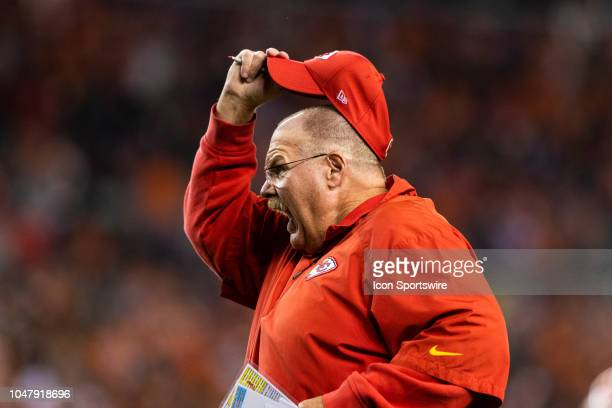 Kansas City Chiefs head coach Andy Reid yells during the NFL regular season football game against the Denver Broncos on October 01 at Broncos Stadium...
