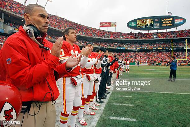 Kansas City Chiefs head coach Herm Edwards and quarterback Trent Green were among the Chiefs players who applauded after a video tribute to Chiefs...