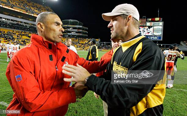 Kansas City Chiefs head coach Herm Edwards left and Pittsburgh Steelers head coach Bill Cowher meet at midfield following the Steelers 457 victory at...