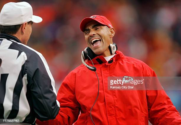 Kansas City Chiefs head coach Herm Edwards reacted to an official during the second quarter against the Jacksonville Jaguars The Chiefs defeated the...