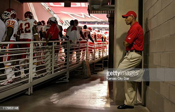 Kansas City Chiefs head coach Herm Edwards waits in the tunnel for his team to be introduced against the Arizona Cardinals The Chiefs defeated the...