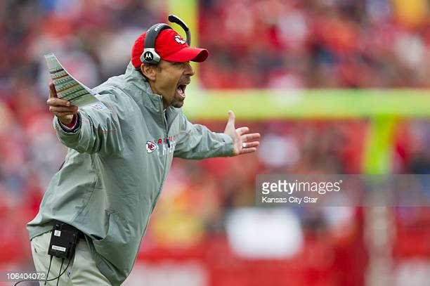 Kansas City Chiefs head coach Todd Haley complained to an official during the third quarter of an NFL game against the Buffalo Bills at Arrowhead...