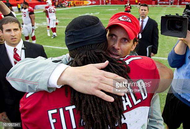 Kansas City Chiefs head coach Todd Haley hugged Arizona Cardinals wide receiver Larry Fitzgerald following the Chiefs' 3113 win at Arrowhead Stadium...