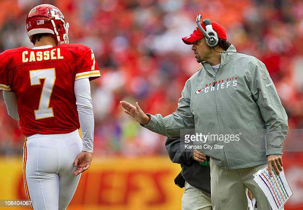 Kansas City Chiefs head coach Todd Haley right spoke to Chiefs quarterback Matt Cassel in the second quarter of their game against the Buffalo Bills...