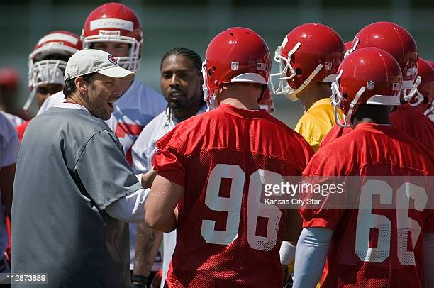 Kansas City Chiefs head coach Todd Haley spoke to his team during voluntary team practice on Monday May 18 at the Arrowhead practice facility in...