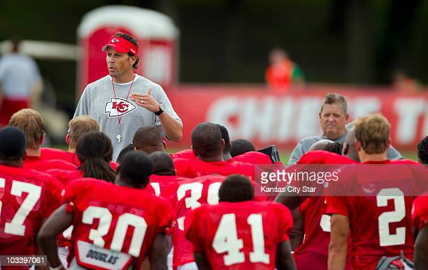 Kansas City Chiefs head coach Todd Haley standing left addressed his team following practice at Missouri Western State University in St Joseph...