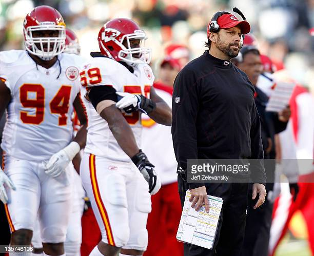 Kansas City Chiefs head coach Todd Haley stands on the sidelines during a game against the New York Jets at MetLife Stadium on December 11 2011 in...