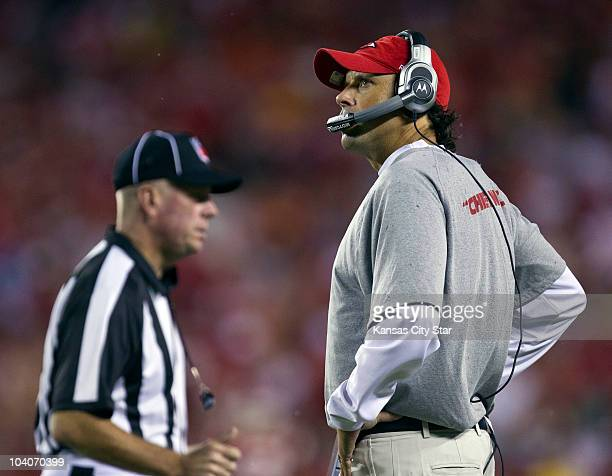 Kansas City Chiefs head coach Todd Haley watches the action during an NFL game against the San Diego Chargers in the first quarter at Arrowhead...