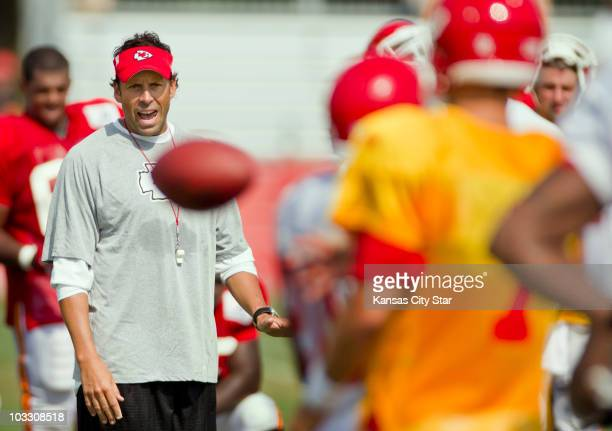 Kansas City Chiefs' head coach Todd Haley yells instructions to quarterback Matt Cassell during training camp on Monday August 9 in St Joseph Missouri