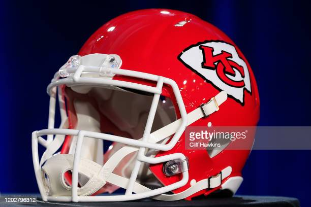 Kansas City Chiefs helmet is displayed prior to a press conference with NFL Commissioner Roger Goodell for Super Bowl LIV at the Hilton Miami...