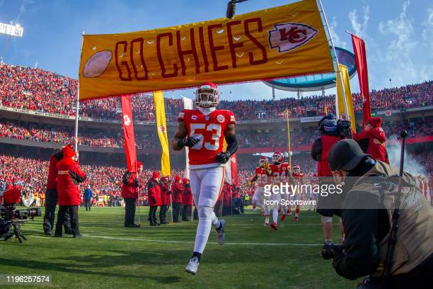 Kansas City Chiefs inside linebacker Anthony Hitchens enters the game against the Tennessee Titans at Arrowhead Stadium in Kansas City Missouri