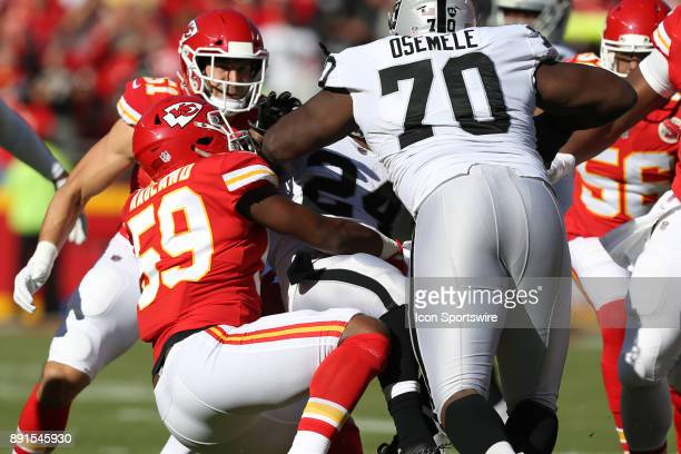 Kansas City Chiefs inside linebacker Reggie Ragland brings down Oakland Raiders running back Marshawn Lynch in the first quarter of an AFC West...