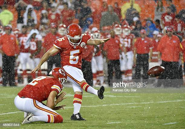 Kansas City Chiefs kicker Cairo Santos converts the extra point to make the game 3410 in the fourth quarter against the Tennessee Titans at Arrowhead...