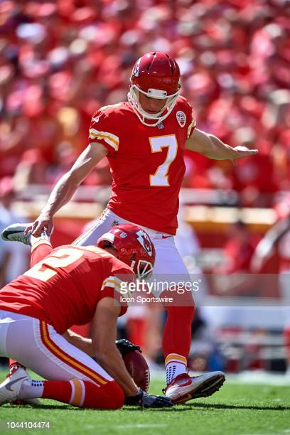 Kansas City Chiefs kicker Harrison Butker kicks an extra point in action during an NFL game between the San Francisco 49ers and the Kansas City...