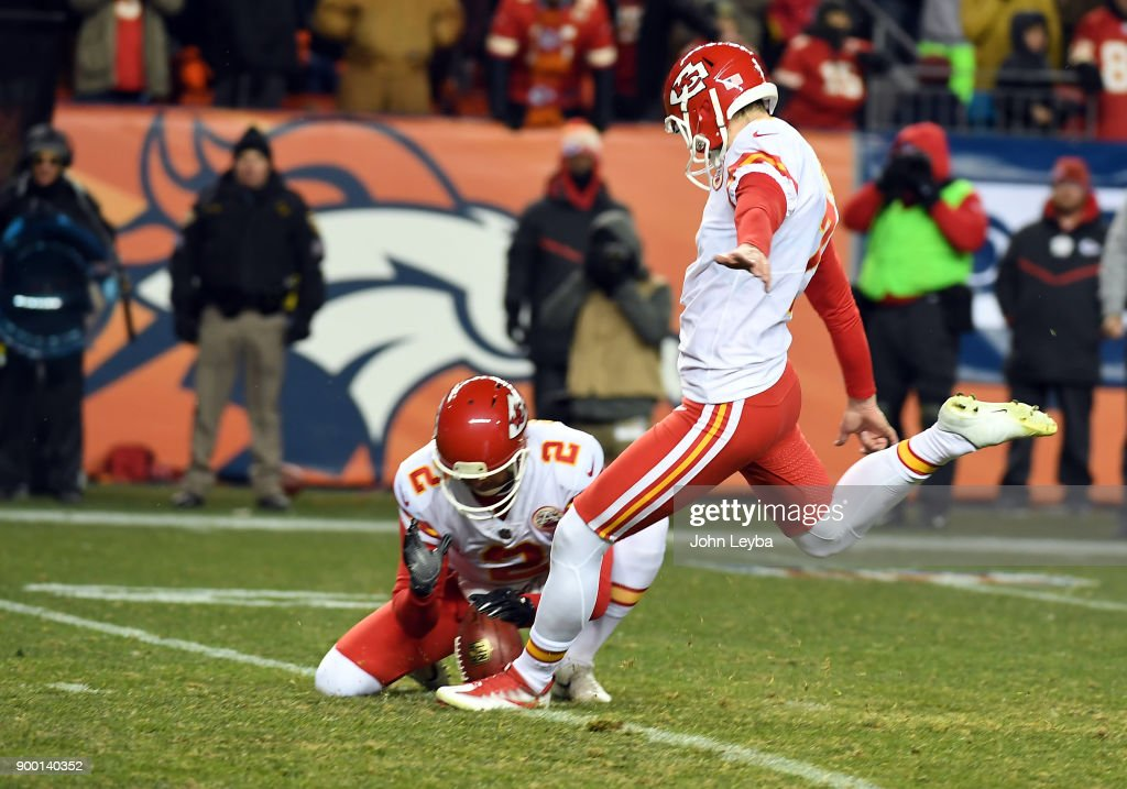 Kansas City Chiefs kicker Harrison Butker (7) kicks the game winning field goal with not time on the clock to beat the Denver Broncos 27-24 on December 31, 2017 in Denver, Colorado at Sports Authority Field at Mile High Stadium.