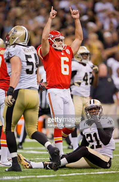 Kansas City Chiefs kicker Ryan Succop celebrated his 43yard field goal behind New Orleans Saints cornerback Patrick Robinson to send the game to...