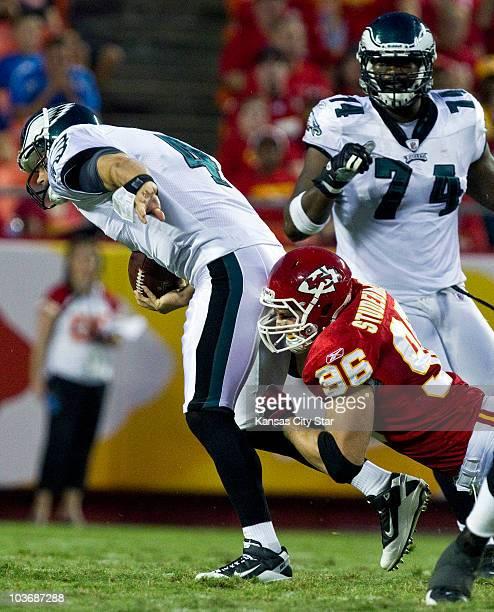 Kansas City Chiefs linebacker Andy Studebaker sacks Philadelphia Eagles quarterback Kevin Kolb right in the second quarter at Arrowhead Stadium in...