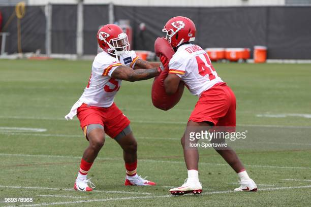 Kansas City Chiefs linebacker Anthony Hitchens during a drill at Organized Team Activities on June 7 2018 at the Kansas City Chiefs Training Facility...