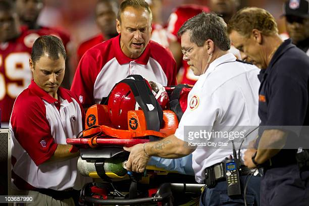 Kansas City Chiefs linebacker Cameron Sheffield is carted off the field in the third quarter after an injuring his neck on a tackle of Philadelphia...