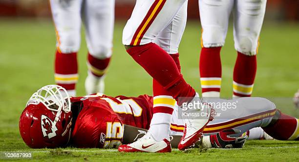 Kansas City Chiefs linebacker Cameron Sheffield lay motionless on the turf after a neck injury while tackling Philadelphia Eagles running back Mike...