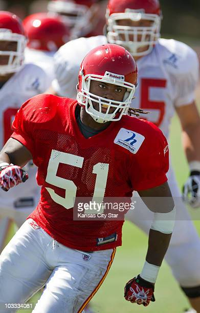 Kansas City Chiefs linebacker Corey Mays works at practice at the team's summer training camp at Missouri Western State University in St. Joseph,...