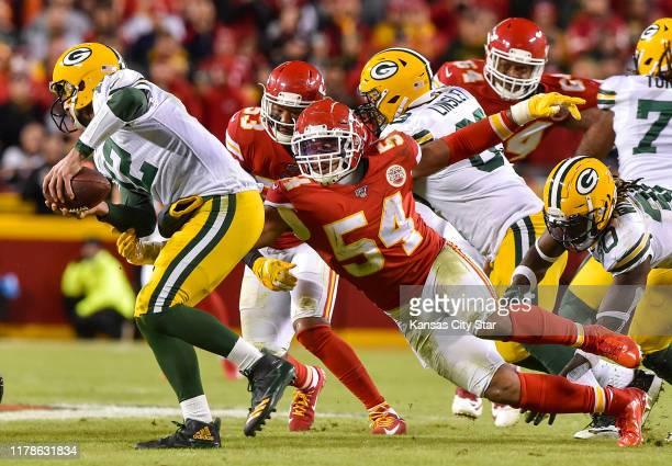 Kansas City Chiefs linebacker Damien Wilson sacks Green Bay Packers quarterback Aaron Rodgers in the second quarter at Arrowhead Stadium in Kansas...
