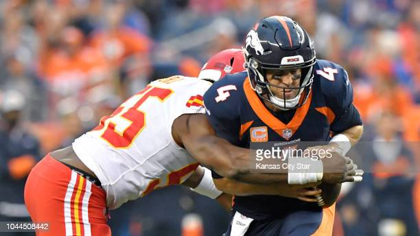Kansas City Chiefs linebacker Dee Ford sacked Denver Broncos quarterback Case Keenum early in the first quater during the game Monday Oct 1 2018 at...